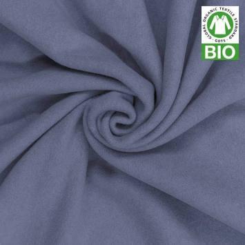 Polaire bio bleu 100% coton