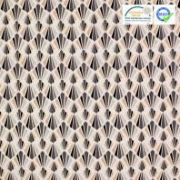 Coton blanc motif payani gris