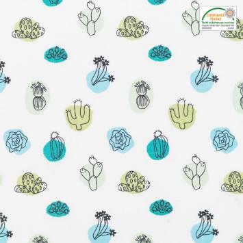 Coton blanc motif arua cactus vert