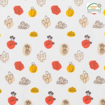 Coton blanc motif arua cactus orange