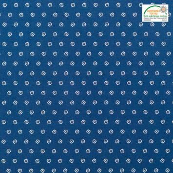 Coton bleu jean motif pois en forme de fleur