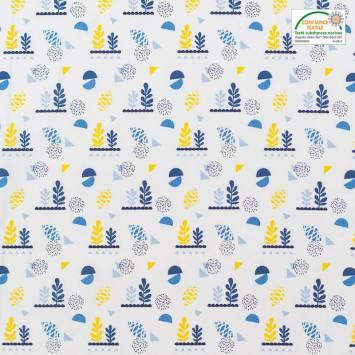 Coton blanc motif lirima bleu