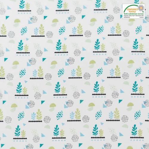 Coton blanc motif lirima vert