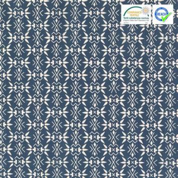 Coton indigo motif bamisa blanc