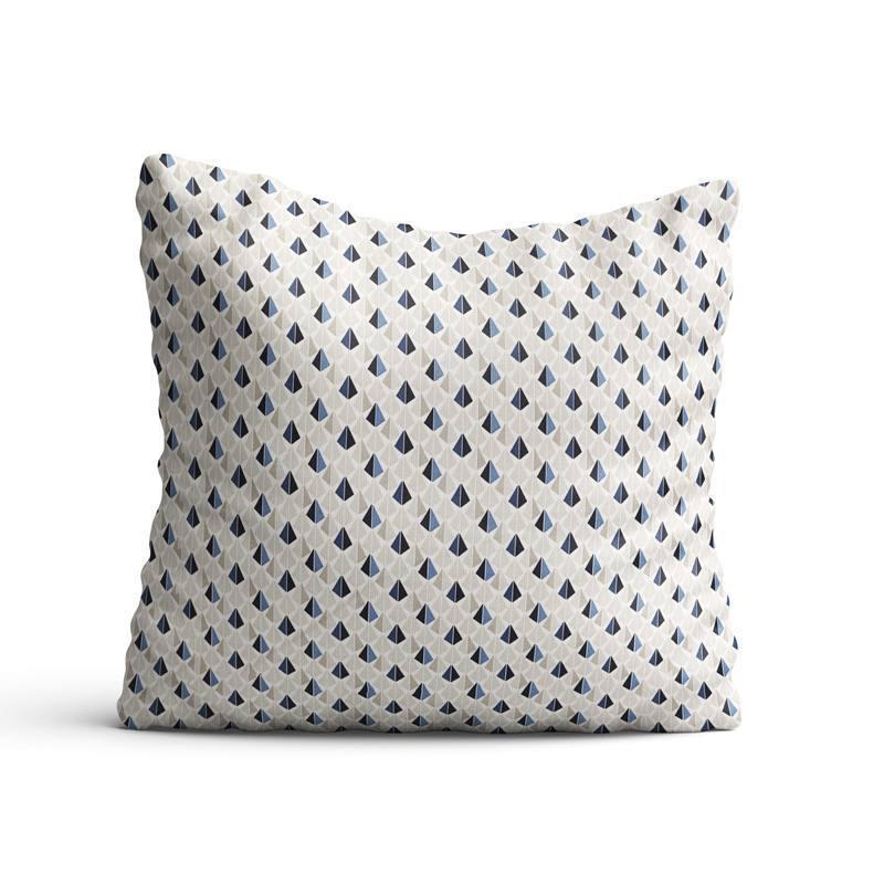 Coton blanc motif odeca bleu