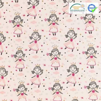 Coton blanc motif kate rose