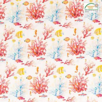 Coton blanc barrière de corail aquarelle
