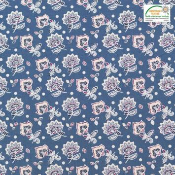 Coton bleu motif fleur de cachemire