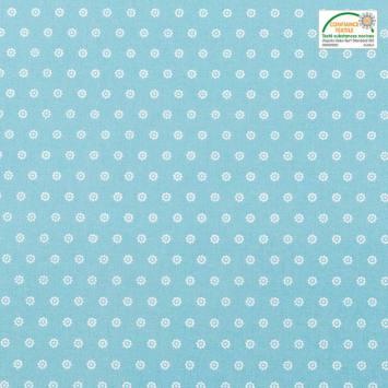 Coton bleu ciel motif pois en forme de fleur