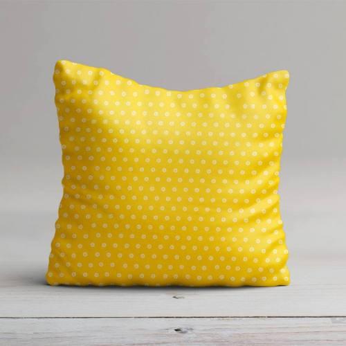 Coton jaune motif pois en forme de fleur
