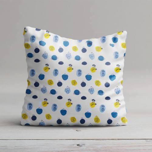 Coton blanc motif arua cactus bleu