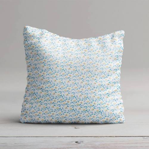 Coton blanc motif mahonia bleu