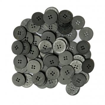Lot d'environ 60 boutons gris anthracite de 22 mm