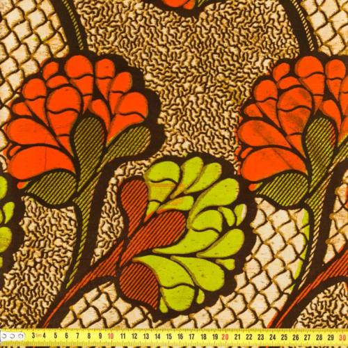 Wax - Tissu africain vert et orange 173