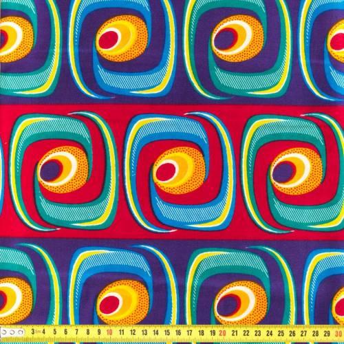 Wax - Tissu africain géométrique multicolore 166