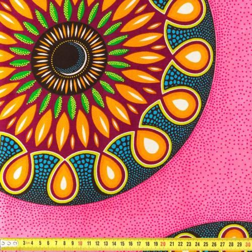 Wax - Tissu africain rose à rosasses 165
