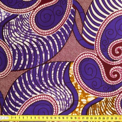 Wax - Tissu africain violet et blanc 160