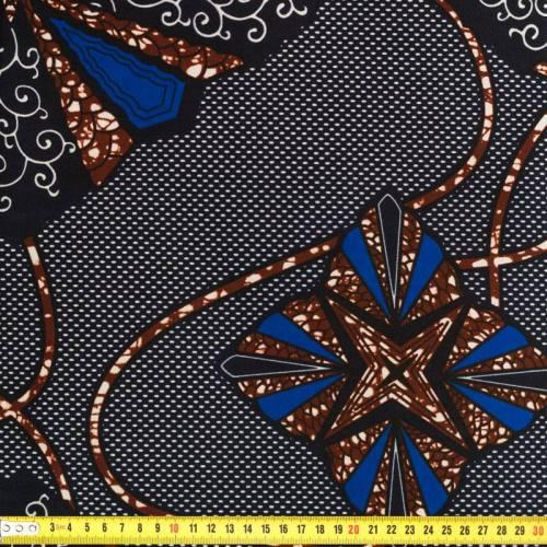 Wax - Tissu africain marron et bleu 172