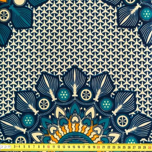 Wax - Tissu africain beige et bleu 170