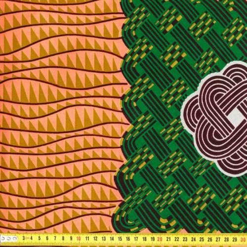 Wax - Tissu africain rose, jaune et vert 158