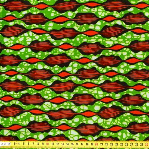 Wax - Tissu africain vert et orange 150