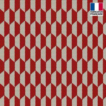 Jacquard rouge motif géométrique