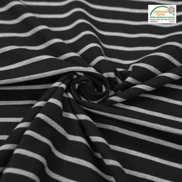 Jersey coton rayé noir et gris