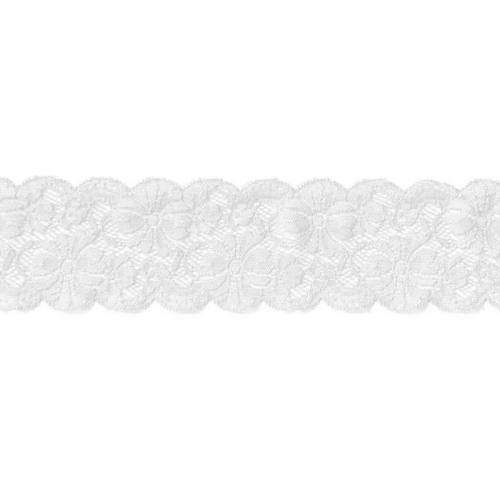 Dentelle blanche extensible 65mm