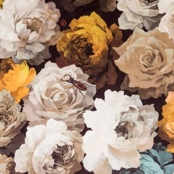Velours imprimé fleurs marron diva