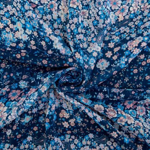 Mousseline bleue motifs fleurs et fils dorés