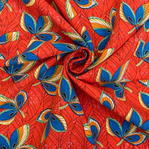 Tissu crêpe viscose orange motif feuilles