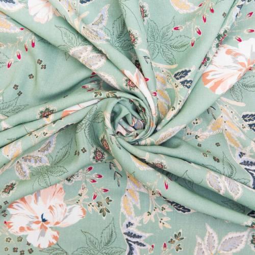 Tissu viscose motif floral vert