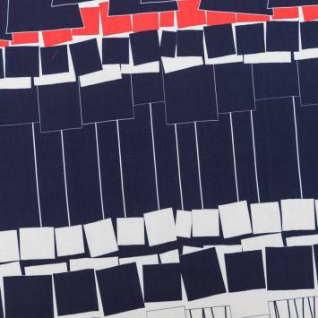 Tissu viscose motif rectangulaire rouge, écru et bleu