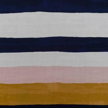 Tissu viscose pastel motif bandes
