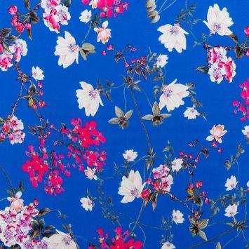 Tissu bleu motif fleur rose
