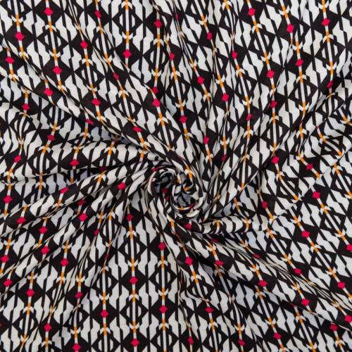 Tissu crêpe viscose blanc cassé motif losange rouge et orange