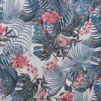 Tissu viscose motif jungle flora
