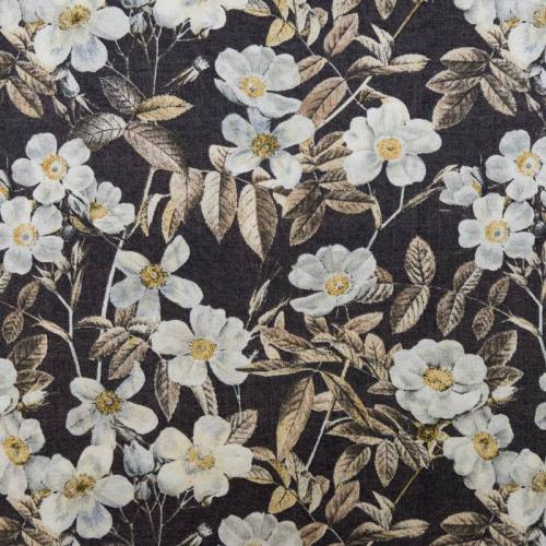 Toile polycoton grande largeur marron motif fleur blanche