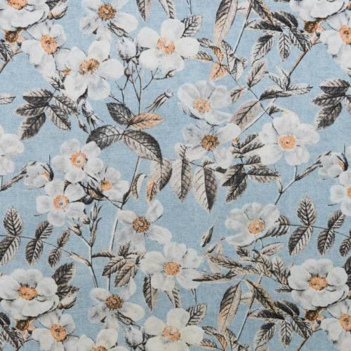 Toile polycoton grande largeur bleue motif fleur blanche