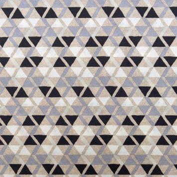 Toile polycoton grande largeur beige motif Otile