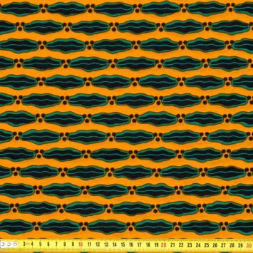 Wax - Tissu africain jaune et vert 194