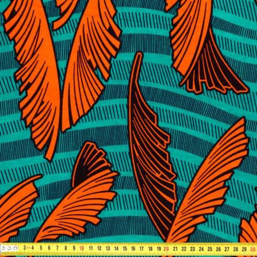 Wax - Tissu africain feuille orange 202