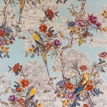 Coton impression numérique aspect lin bleu motif champêtre et perruche