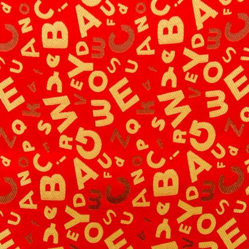 Satin asiatique rouge motif alphabet doré