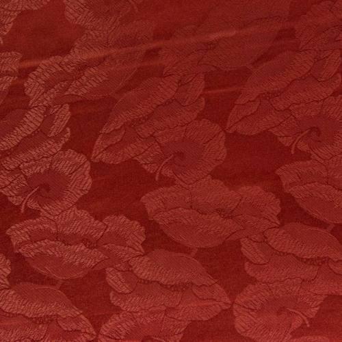 Satin asiatique rouge carmin motif fleur