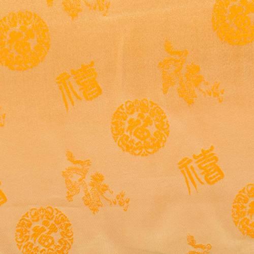 Satin asiatique jaune motif rond orange