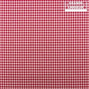 Tissu grande largeur petits carreaux rouges et blancs