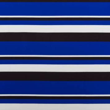 Maille extensible à rayures bleues noires et blanches