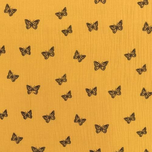 Double gaze ocre imprimée papillon