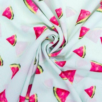 Tissu crêpe à rayures vertes motif pastèque